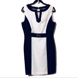 NWOT Tahari Sleeveless Black/White Sheath Dress 10